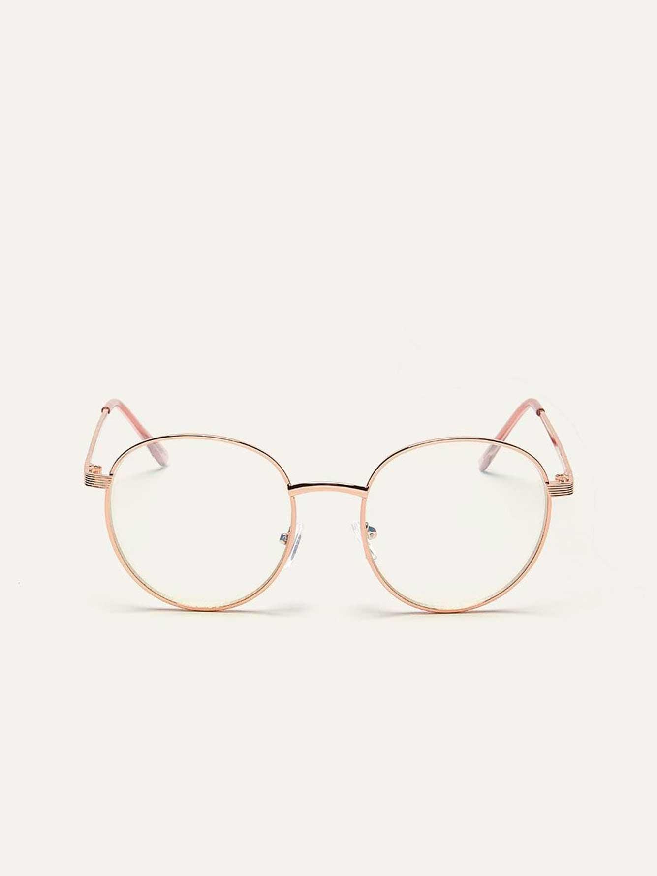 8b5e6b39521e0 Blue Lens Glasses with Metallic Frame