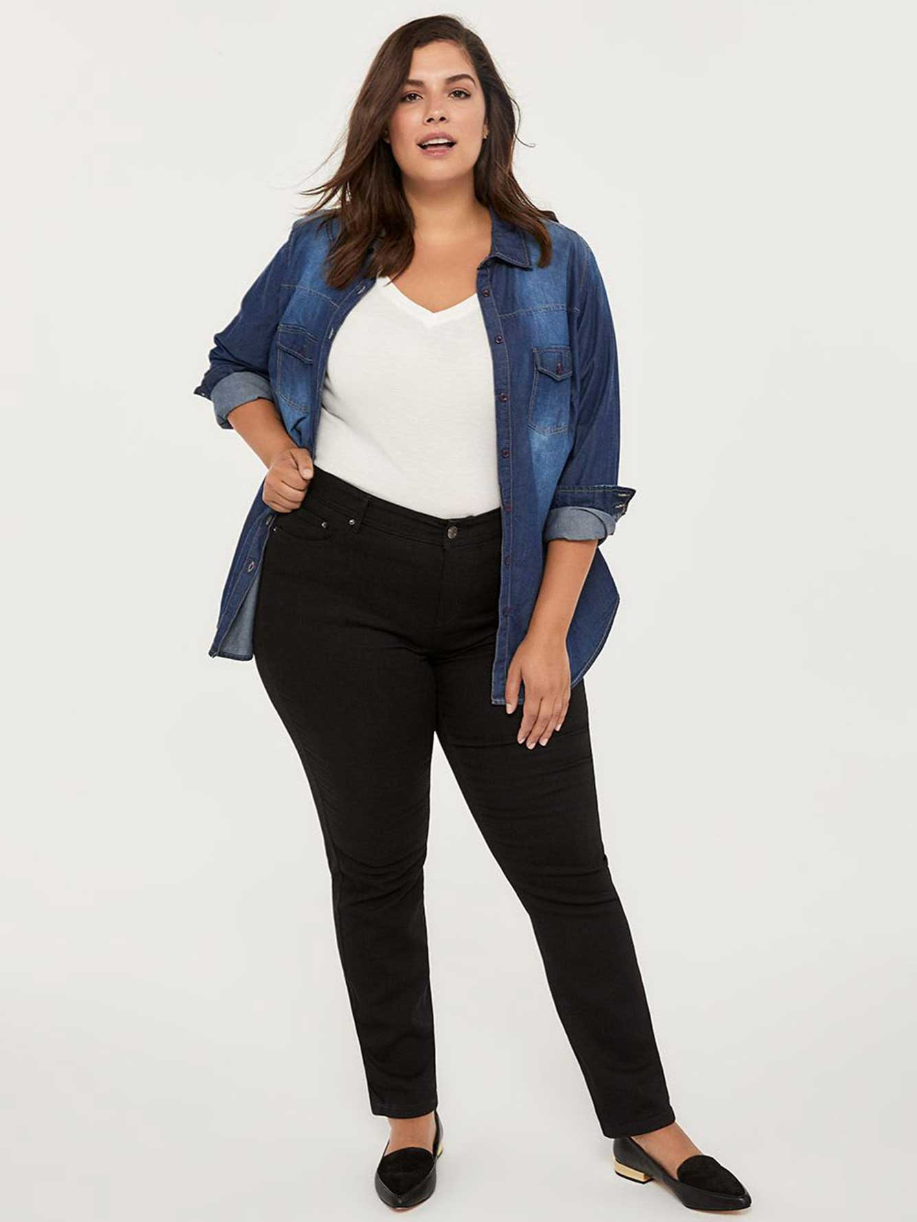 2e83c07b48c Petite Slightly Curvy Fit Straight Leg Black Jean - d C JEANS ...