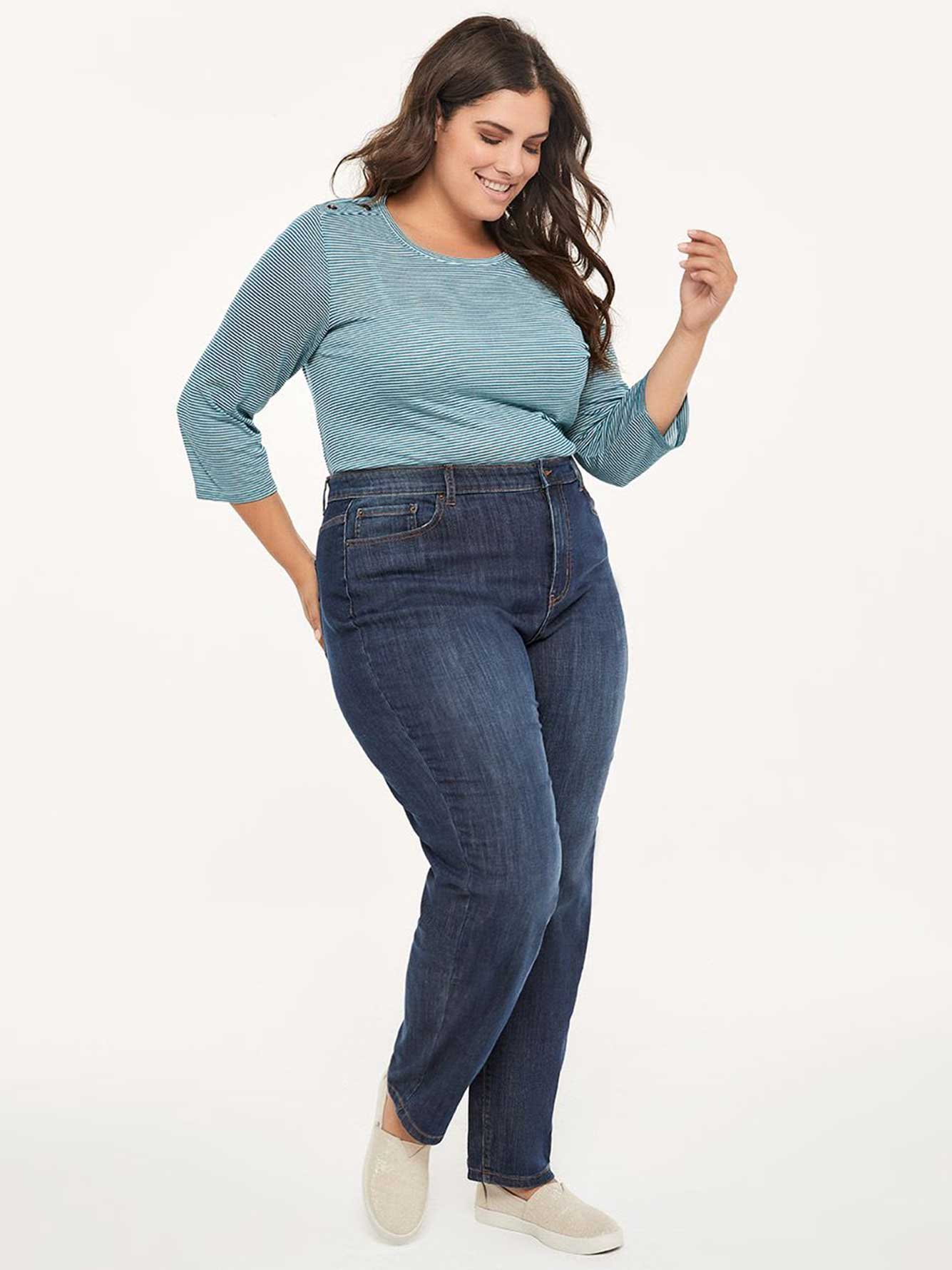 52eb1947759c75 Curvy Fit Straight Leg Jean with Embroidery - d/C JEANS | Penningtons