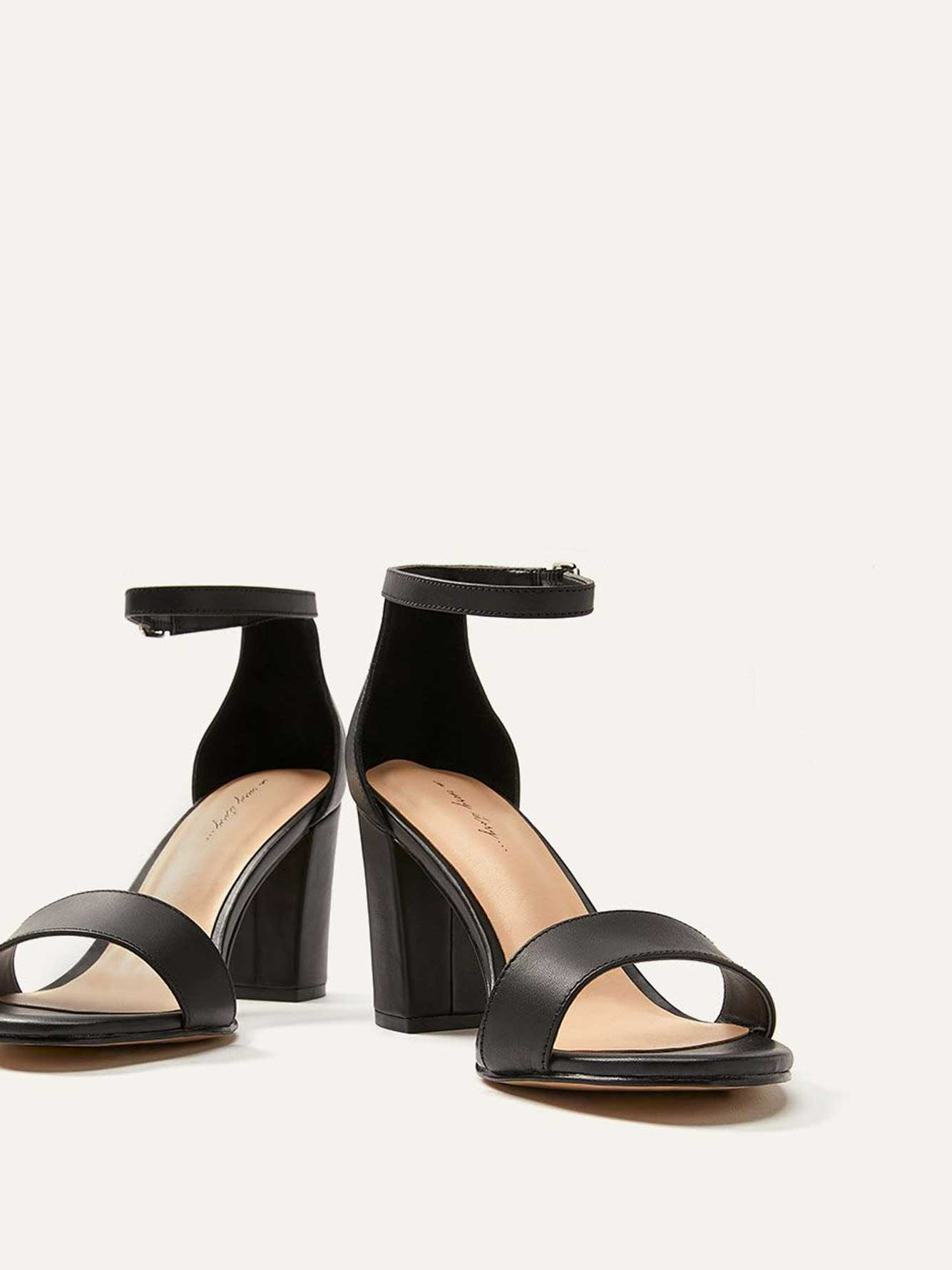 Wide Leather Heeled Sandals