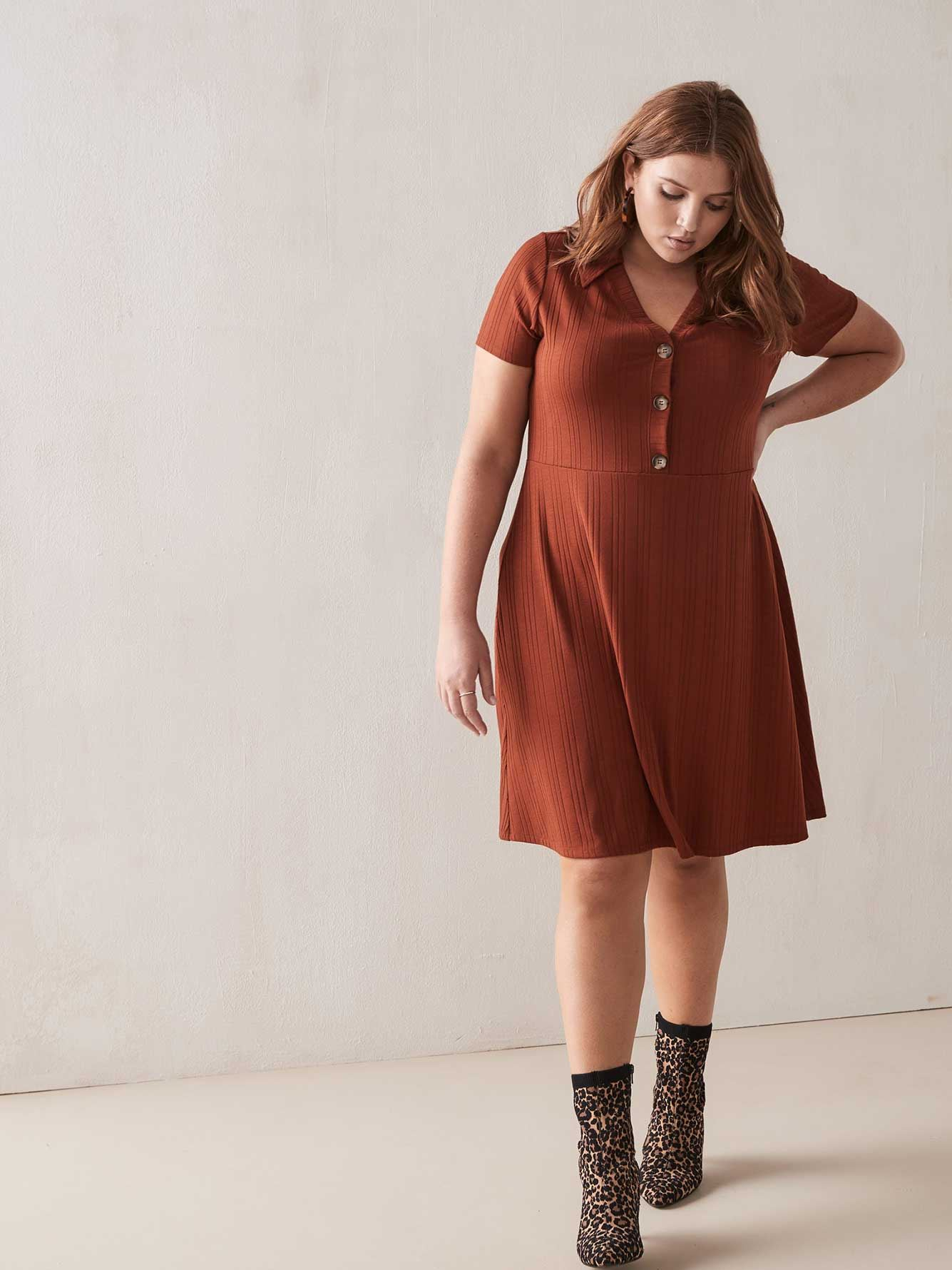 Fit & Flared Ribbed Polo Dress   Addition Elle by Addition Elle