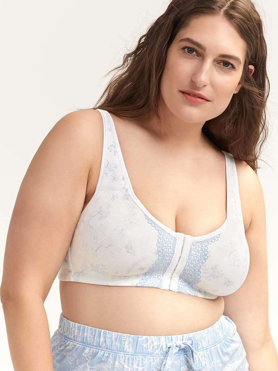 Wirefree Cotton Bra with Front Closure, G & H Cups - ti Voglio