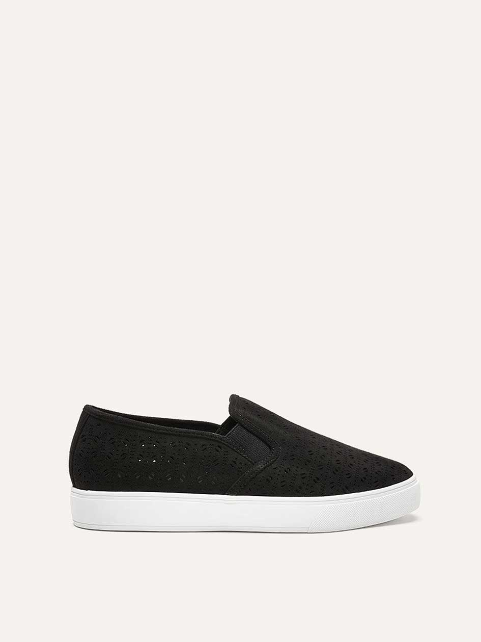 Wide Laser Cut Slip-On Sneakers