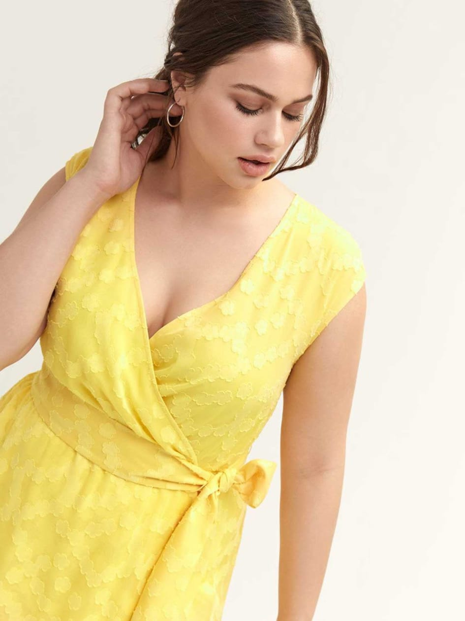 Yellow Faux-Wrap Dress