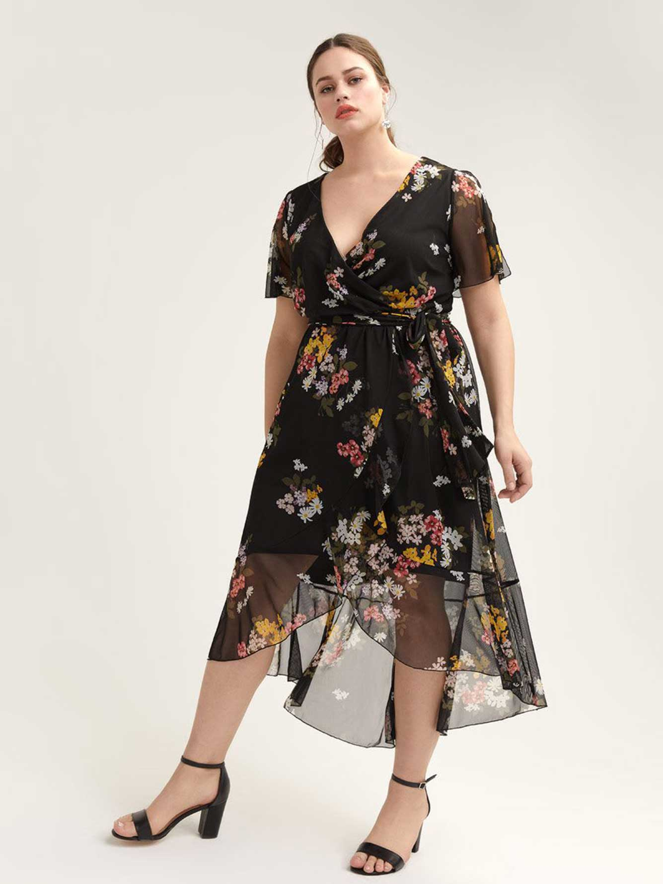 988fe1e62692 High-Low Mesh Floral Dress with Flutter Sleeves | Penningtons