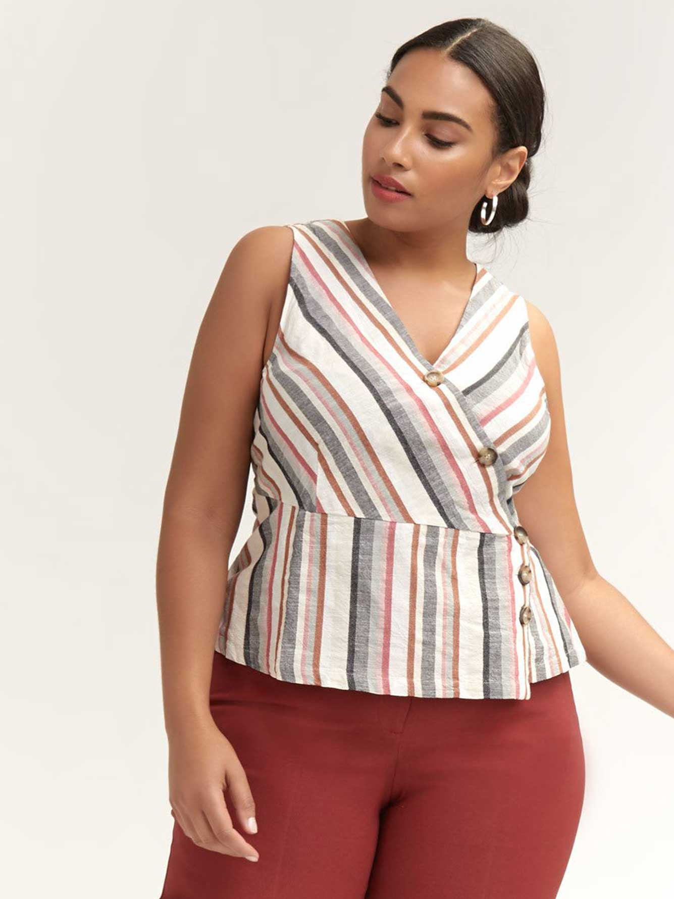 Striped Cotton Blouse with Button Details