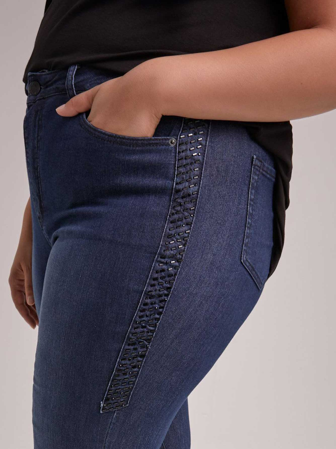 ONLINE ONLY - Tall Slightly Curvy Bootcut Leg Jean with Embellishment - d/C JEANS