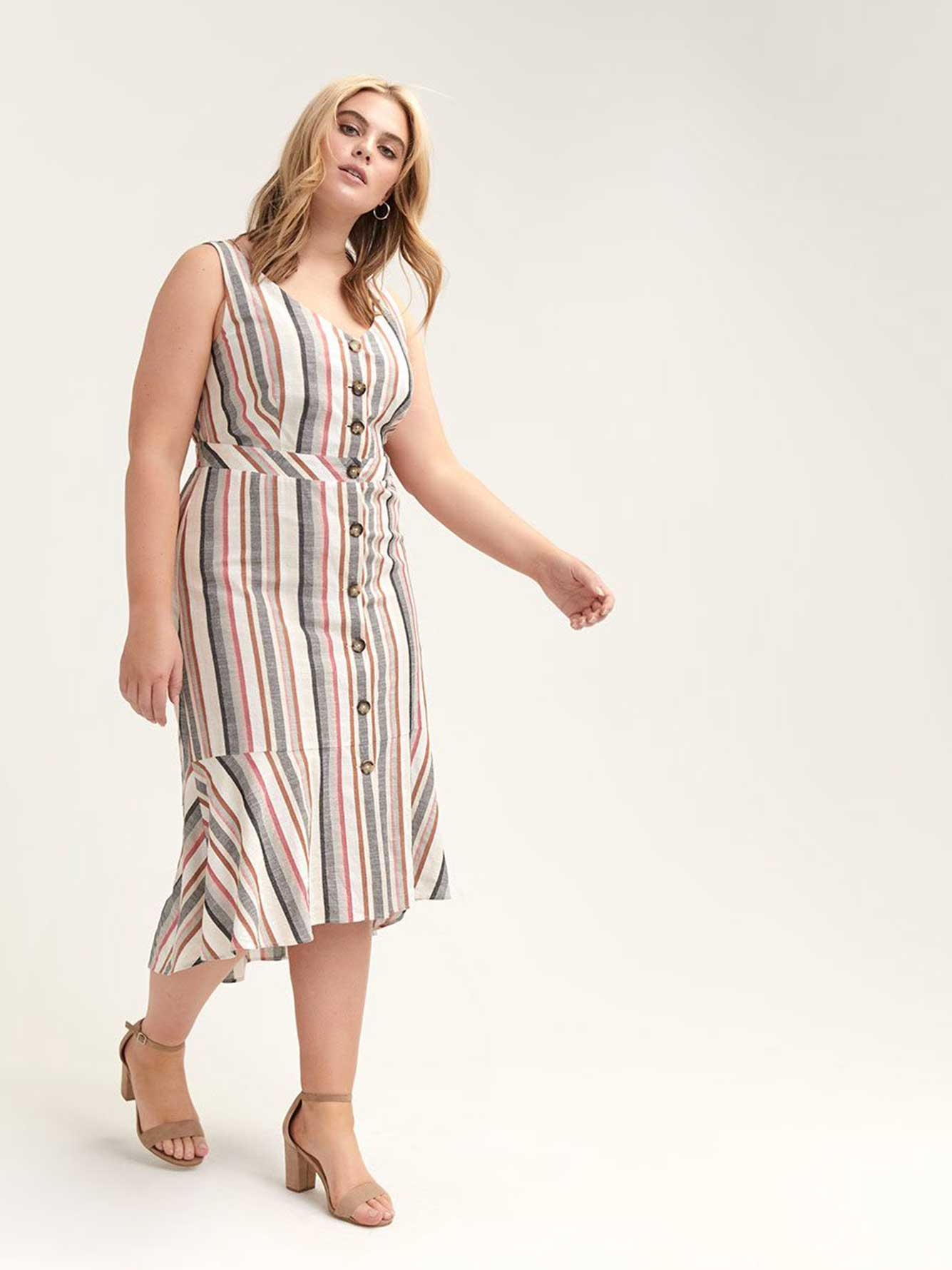 b05acf3bb Fit & Flared Striped Dress with Button Details - L&L | Penningtons
