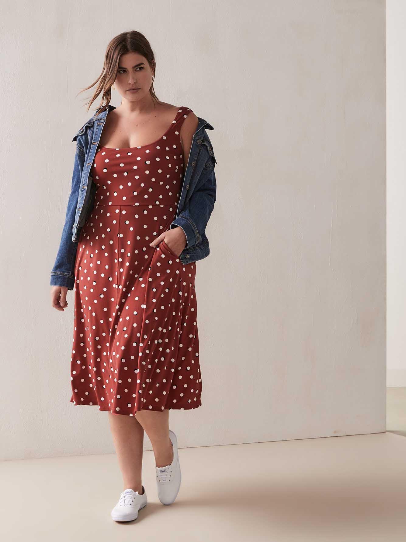 Polka Dot Dress with Square Neck | Penningtons