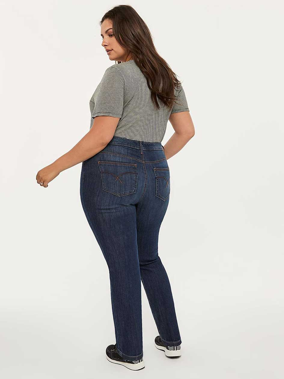 ONLINE ONLY - Tall Curvy Fit Straight Leg Jean with Embroidery - d/C JEANS