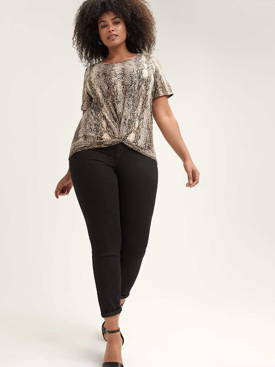 744e07c3248 Snake Print Top with Twisted Front - L L