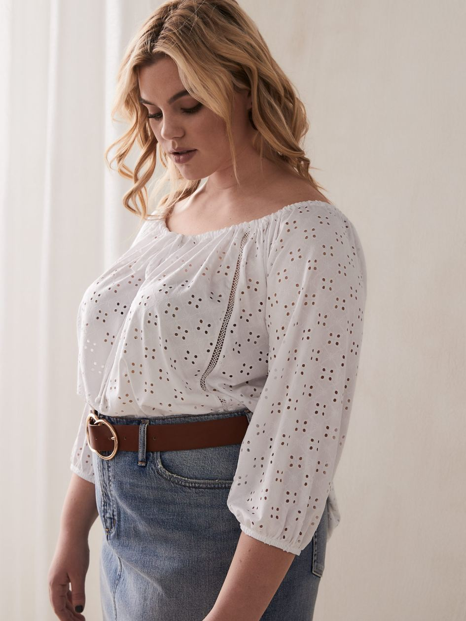 95afda456e6 Off-the-Shoulder Eyelet Top with 3 4 Balloon Sleeves