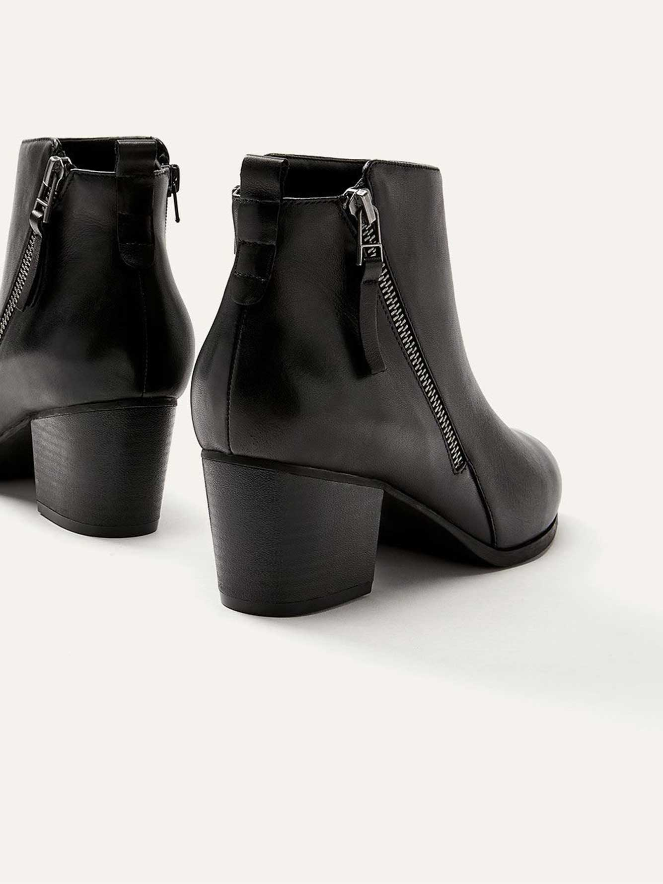 2666f3d75bc3d Wide Leather Booties with Side Zip | Penningtons