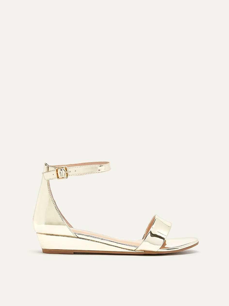 0321b9a619ed Wide Metallic Wedge Sandals