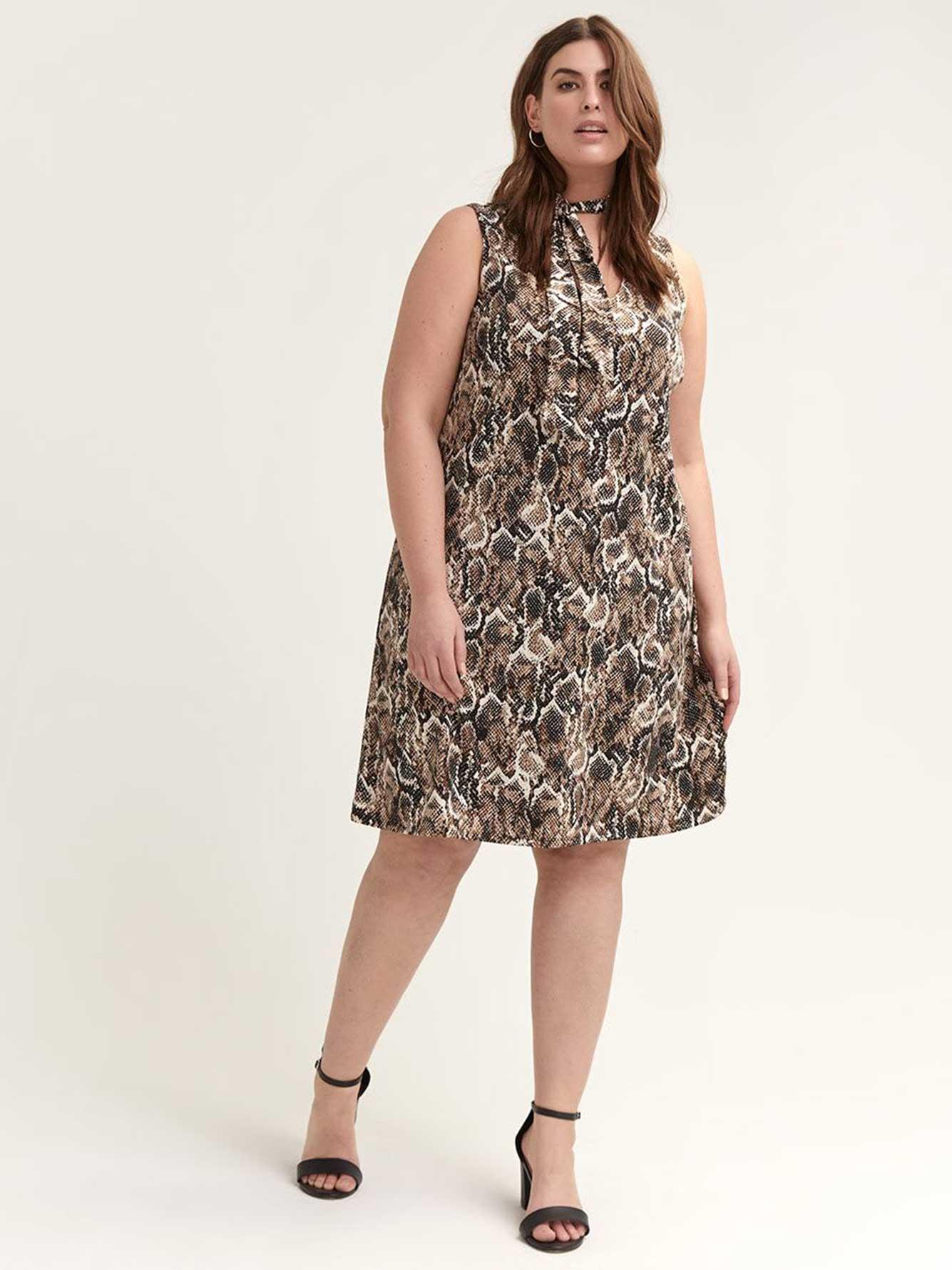 Snake Print Dress with Bow at Neckline - L&L   Penningtons
