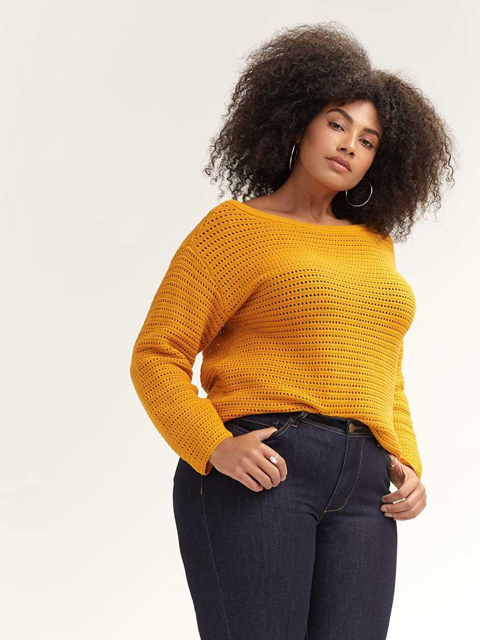 6e3fc72ba6da0 Long Sleeve Cotton Sweater - d C JEANS