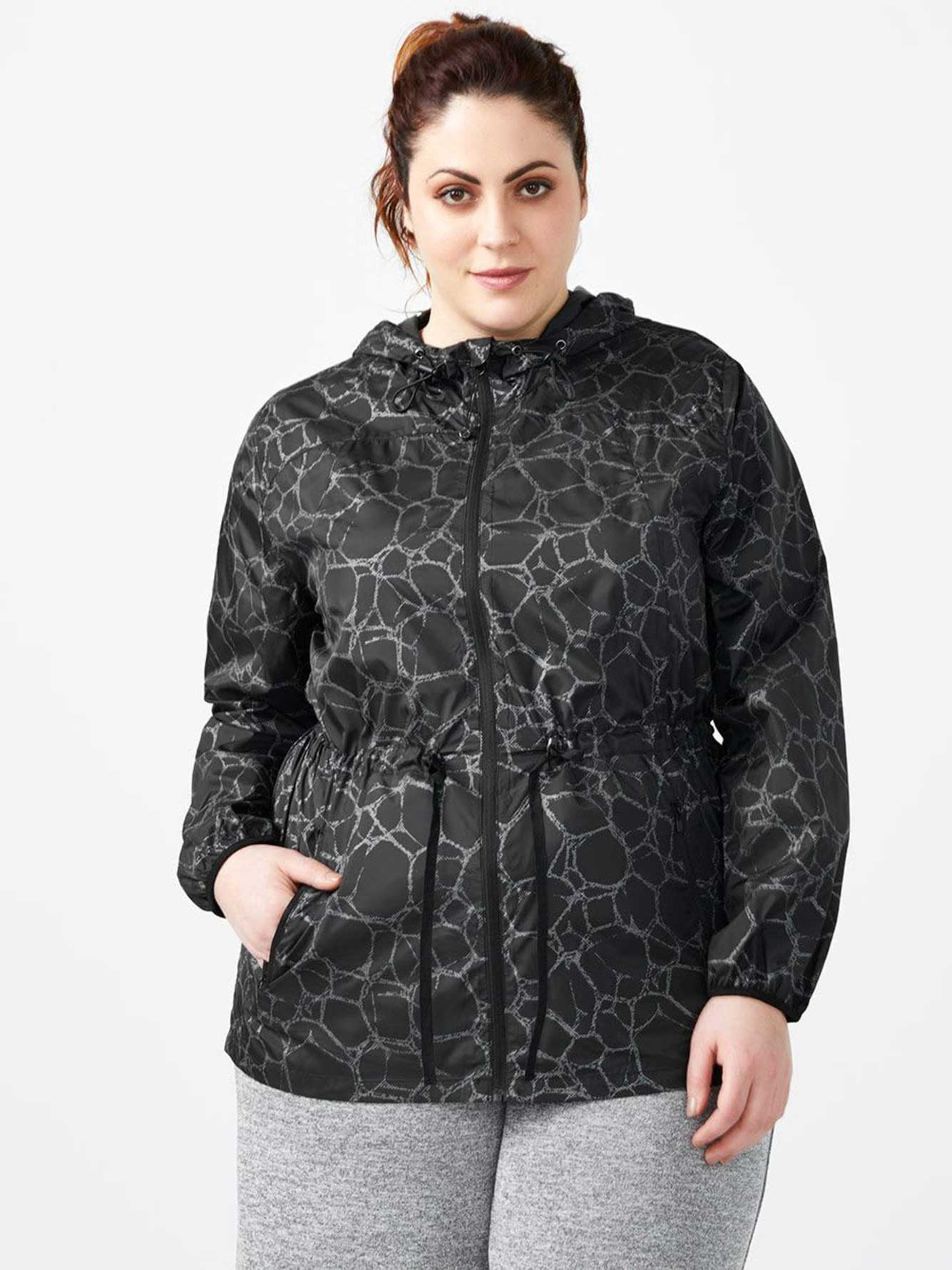 d3e4d3b9c3a ActiveZone - Plus-Size Packable Reflective Jacket with Hood ...