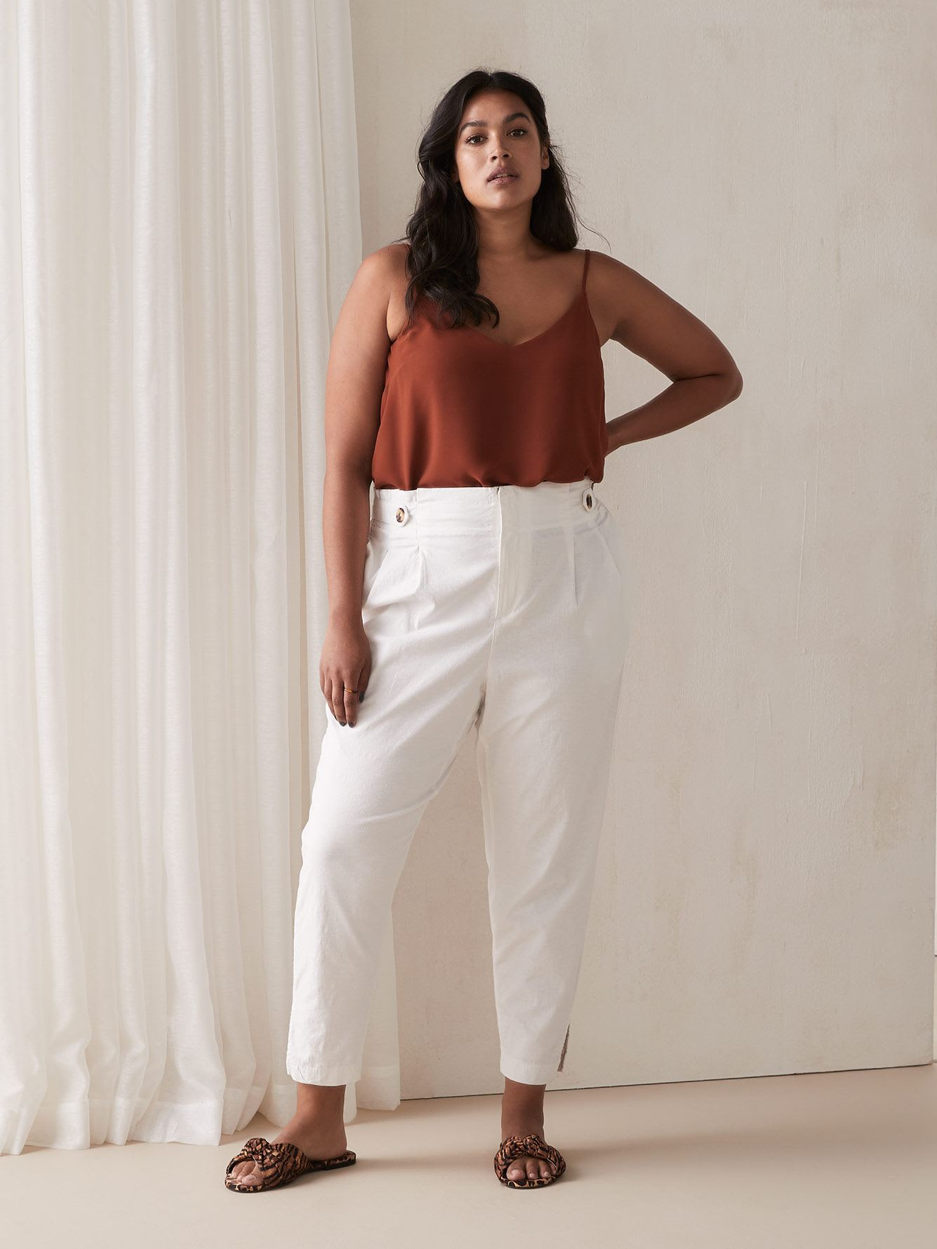 High Waisted Linen Pant by Addition Elle