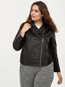 Faux Leather Jacket with Ponte de Roma Inserts - In Every Story