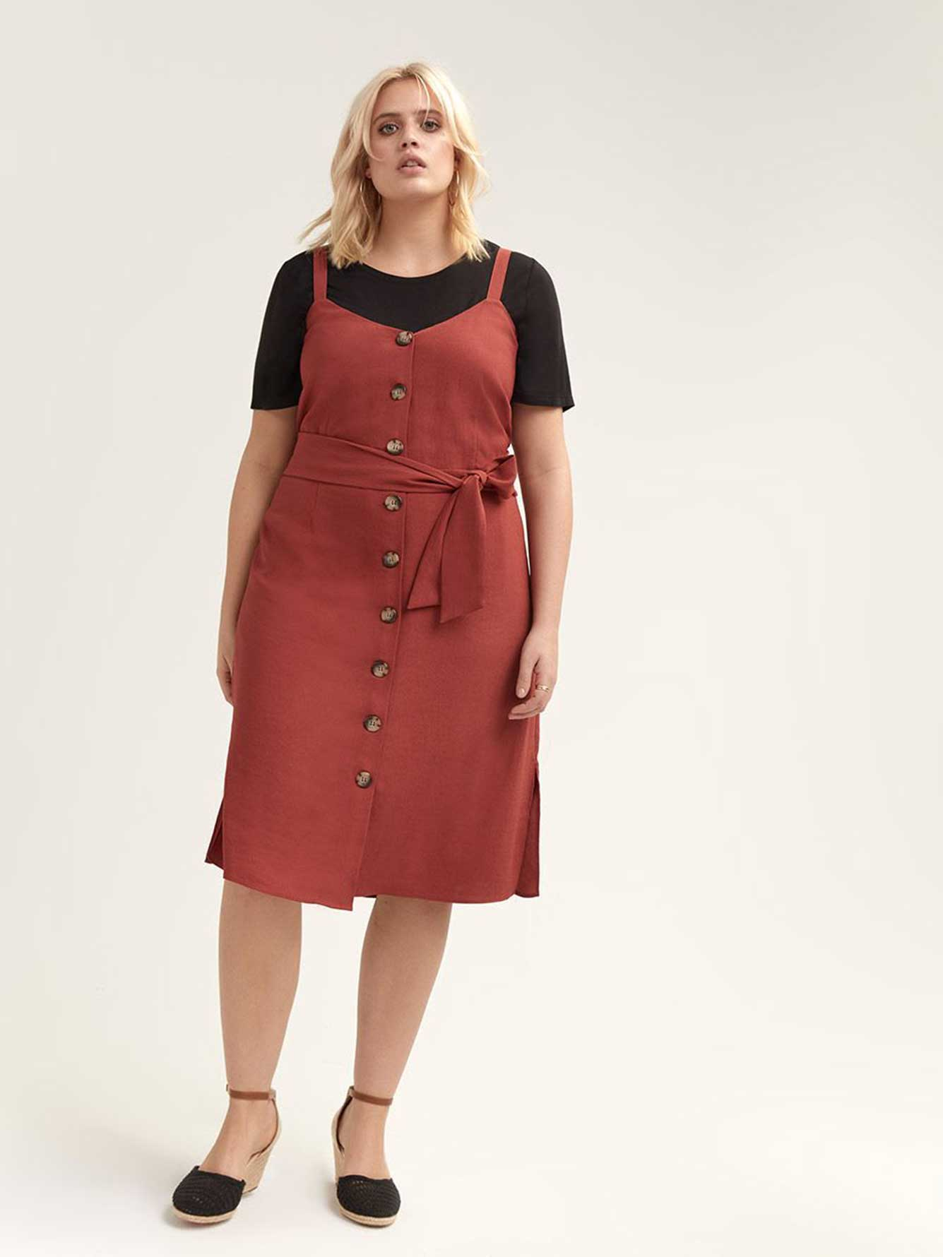 Button-Front Dress with Self-Sash - L&L