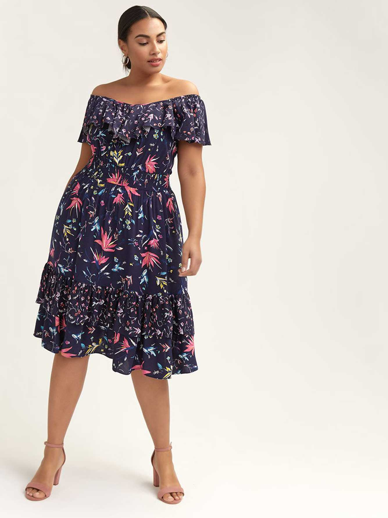 Off-the-Shoulder Floral Ruffle Dress