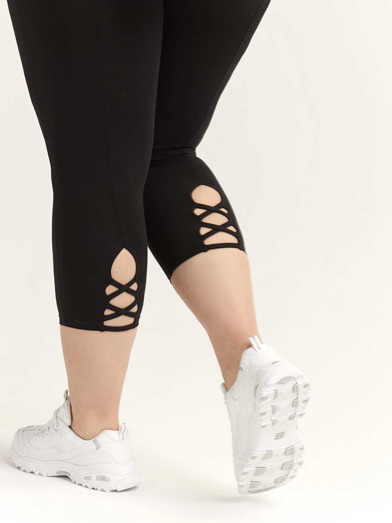 bb2b6a70e39e73 Capri Legging with Criss-Cross Detail   Penningtons