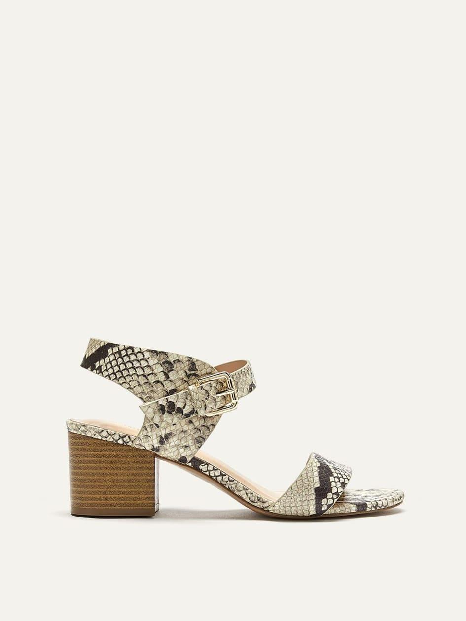 364f548f3 Snake Print Block Heel Sandals