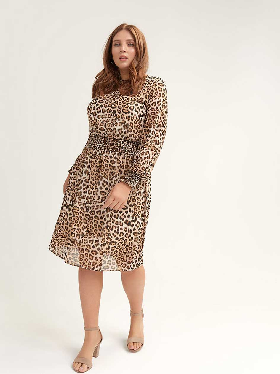 cdf46fef27e Leopard-Print Dress with Smocking Details - L L