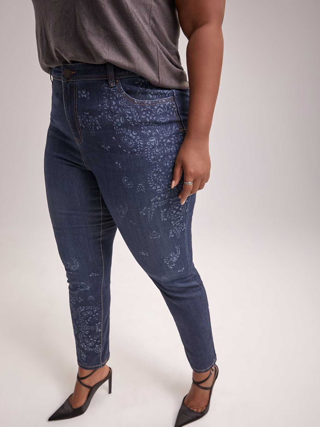 Petite - Slightly Curvy Skinny Leg Jean with Print - d/C JEANS