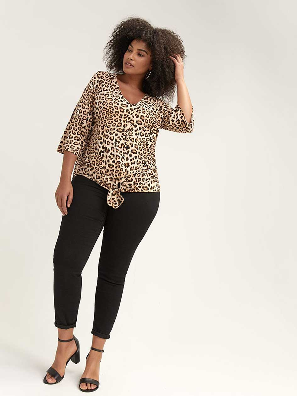 2f4490e09d297 Leopard Print Top with Twisted Front - L L