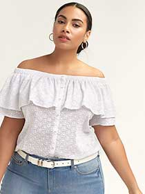 Bardot Blouse with Ruffled Neckline