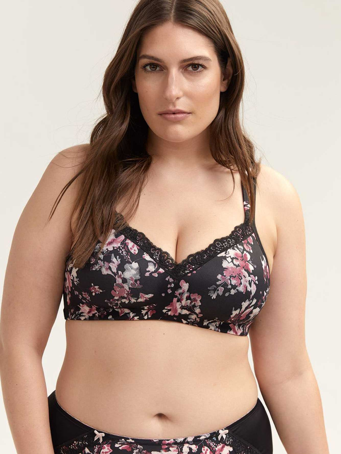 a88429dada Printed Padded Wirefree Bra with Lace