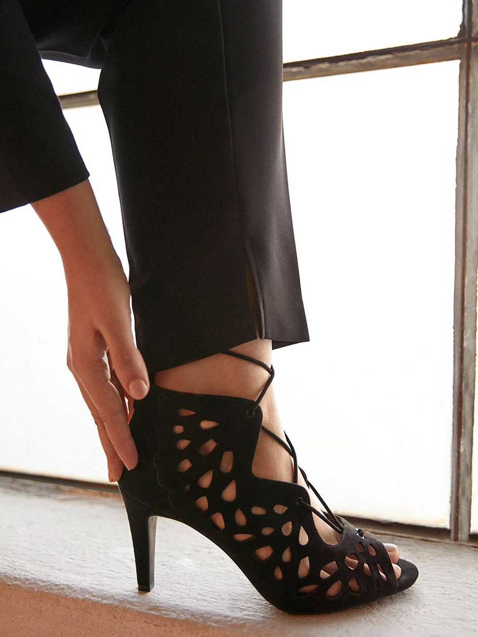 Wide Laser Cut Lace-Up Heeled Sandals