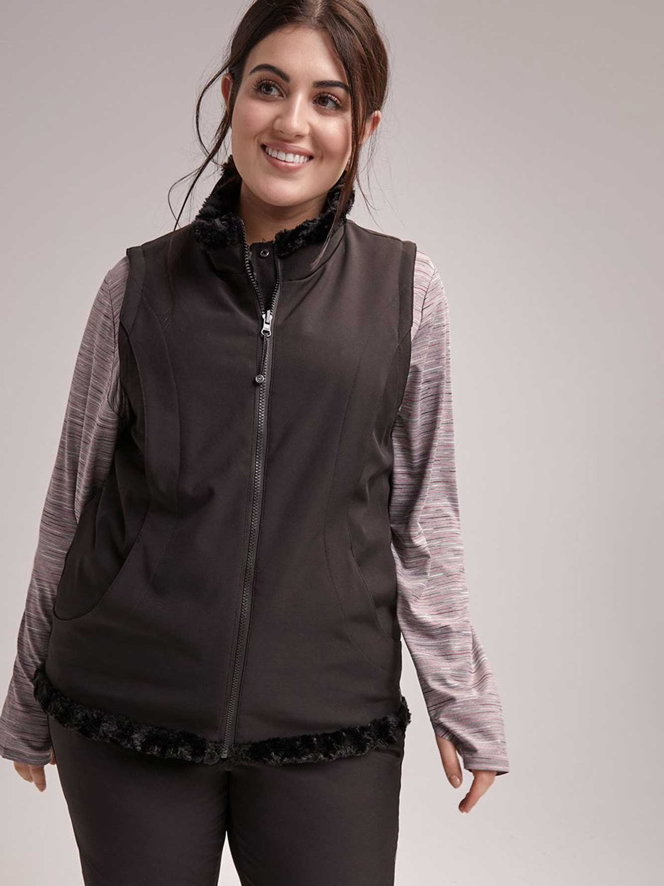 cd6cbefedaf Plus Size Reversible Jacket with Faux Fur - ActiveZone