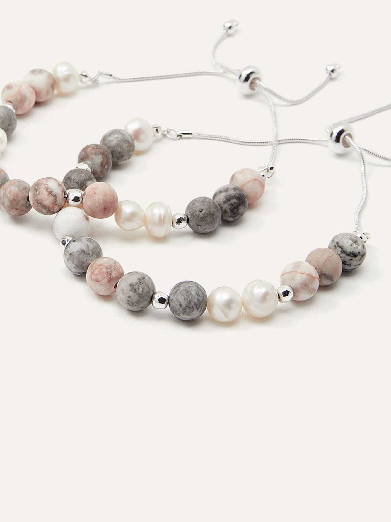 Set of 2 Semi-Precious Stone Bracelets with Fresh Water Pearls
