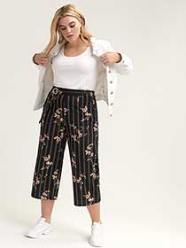 Striped Wide Leg Pull-On Pant with Floral Print - L&L