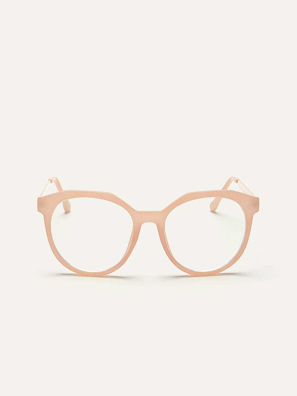 Blue Lens Glasses with Clear Pink Frame