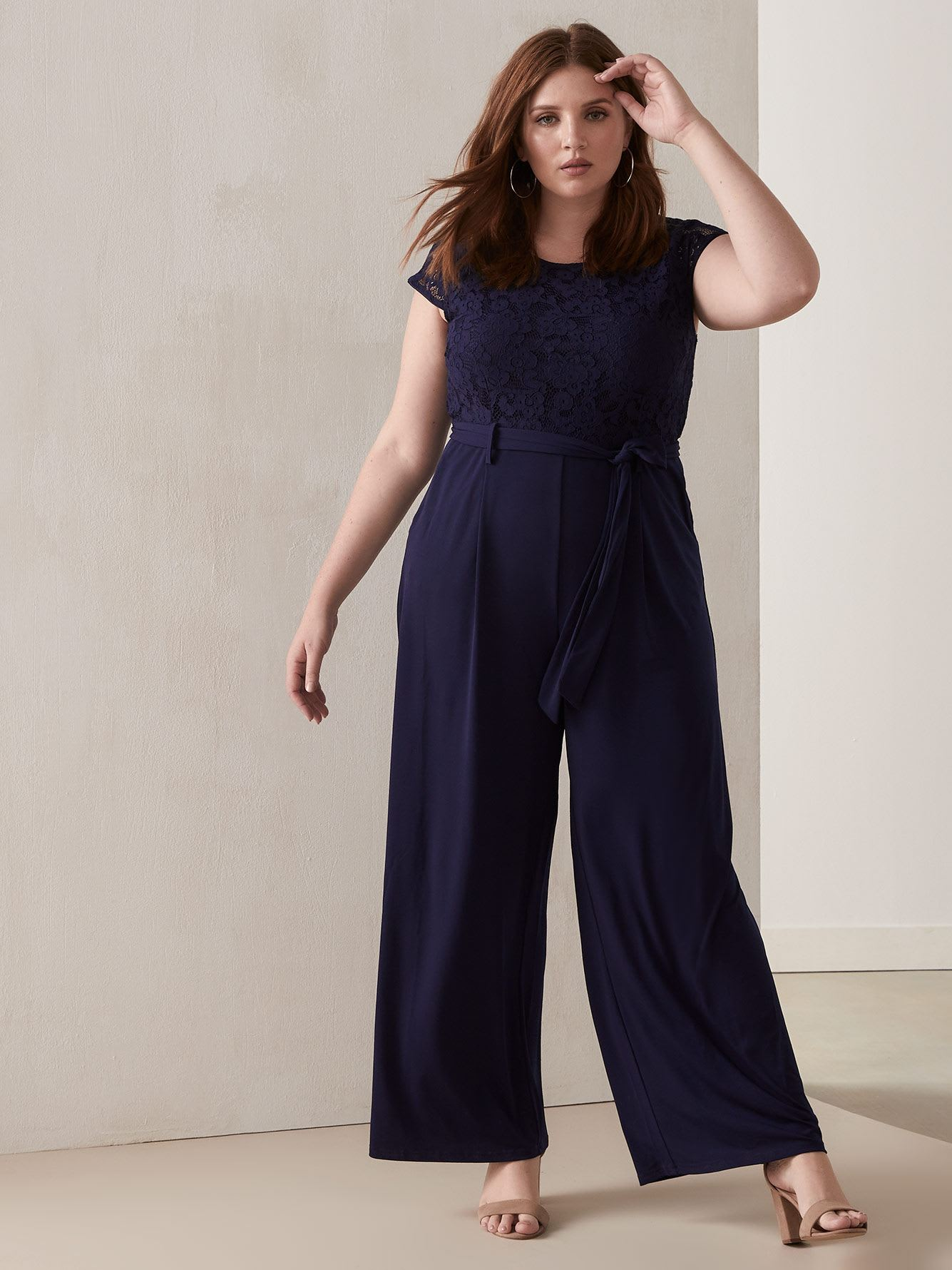 Wide-Leg Jumpsuit with Lace Top