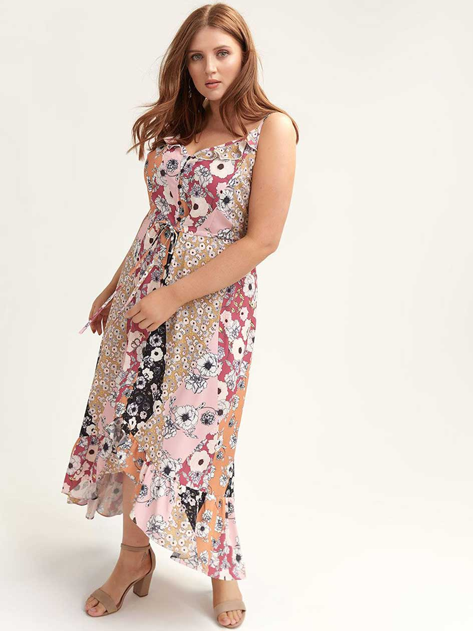 2a72a910bb228 Maxi Dress with Floral Patchwork Print - City Chic