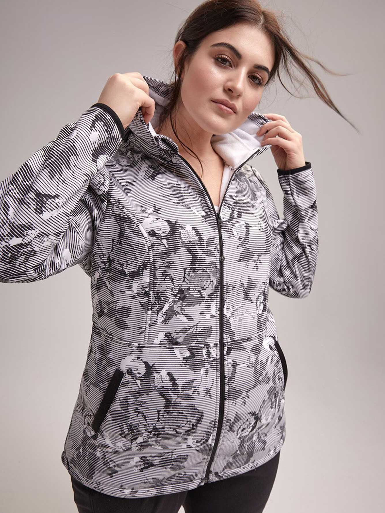 5681683f10090 Plus Size Printed Jacket with Hood - ActiveZone