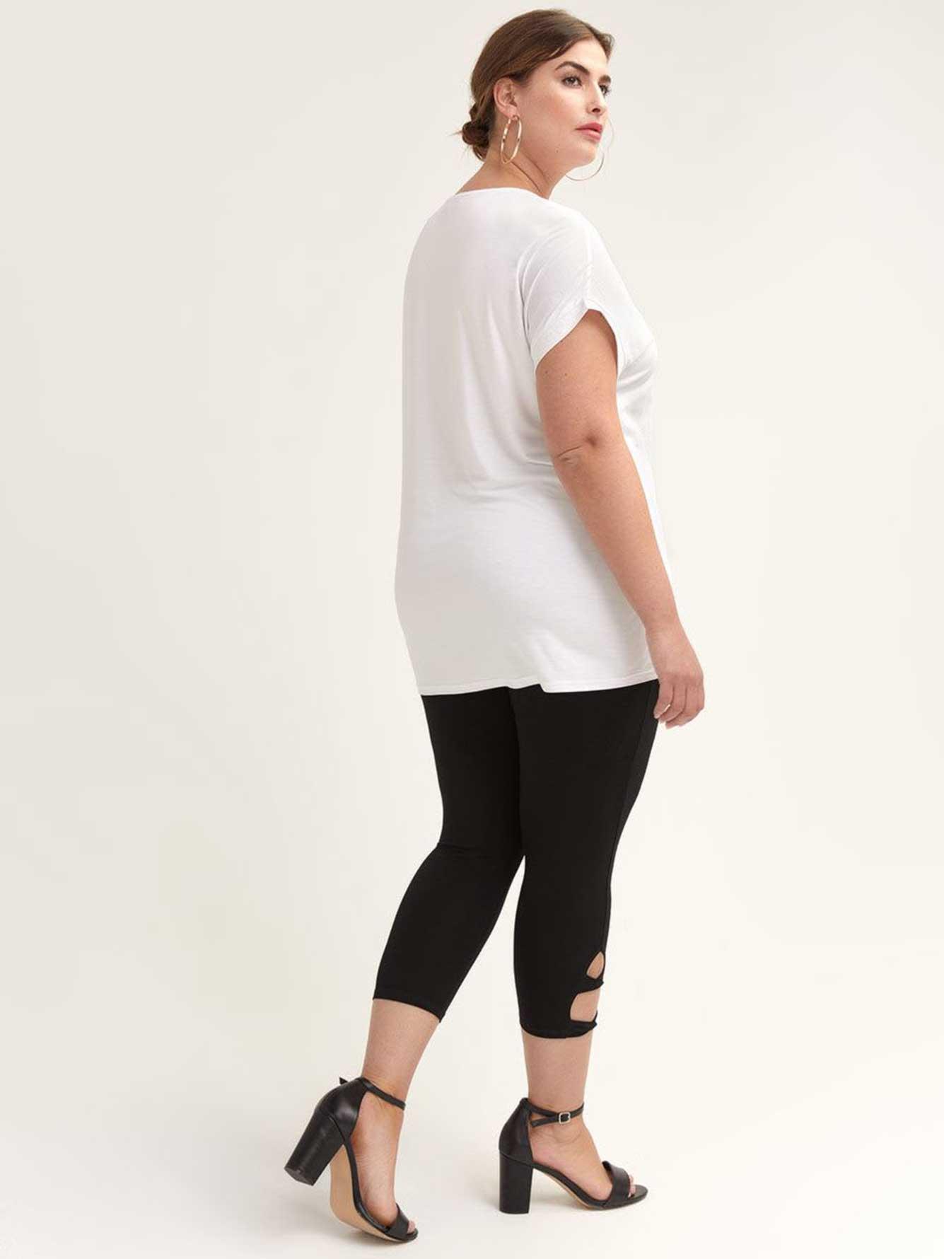 6c40b882720d2 Solid Capri Leggings with Twist Side Detail | Penningtons