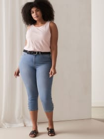 Denim Capri with Shank Buttons at Hem