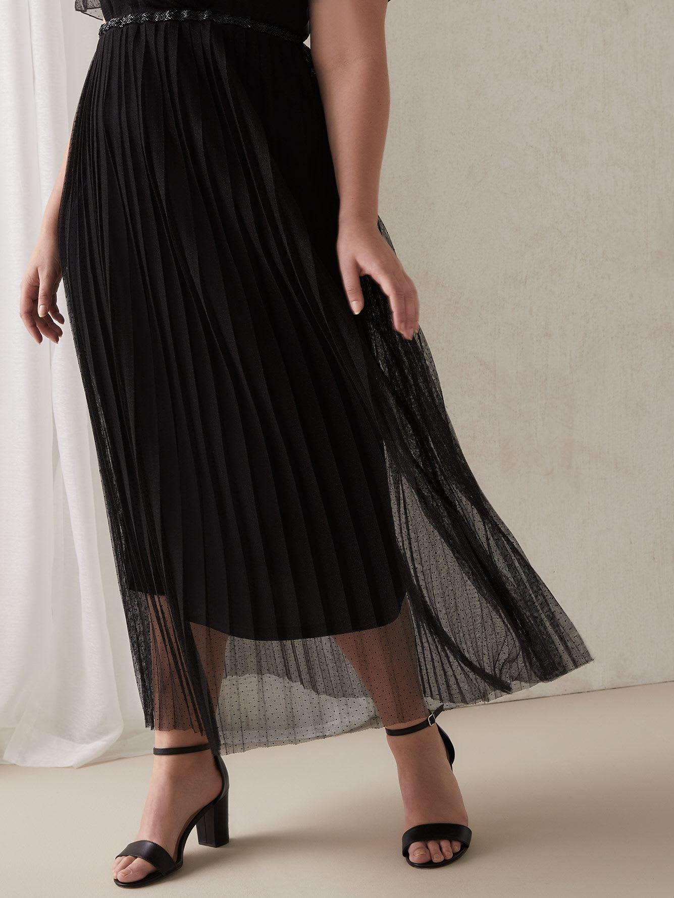2cddf0adfa5acd Robe longue en maille avec jupe plissée noire