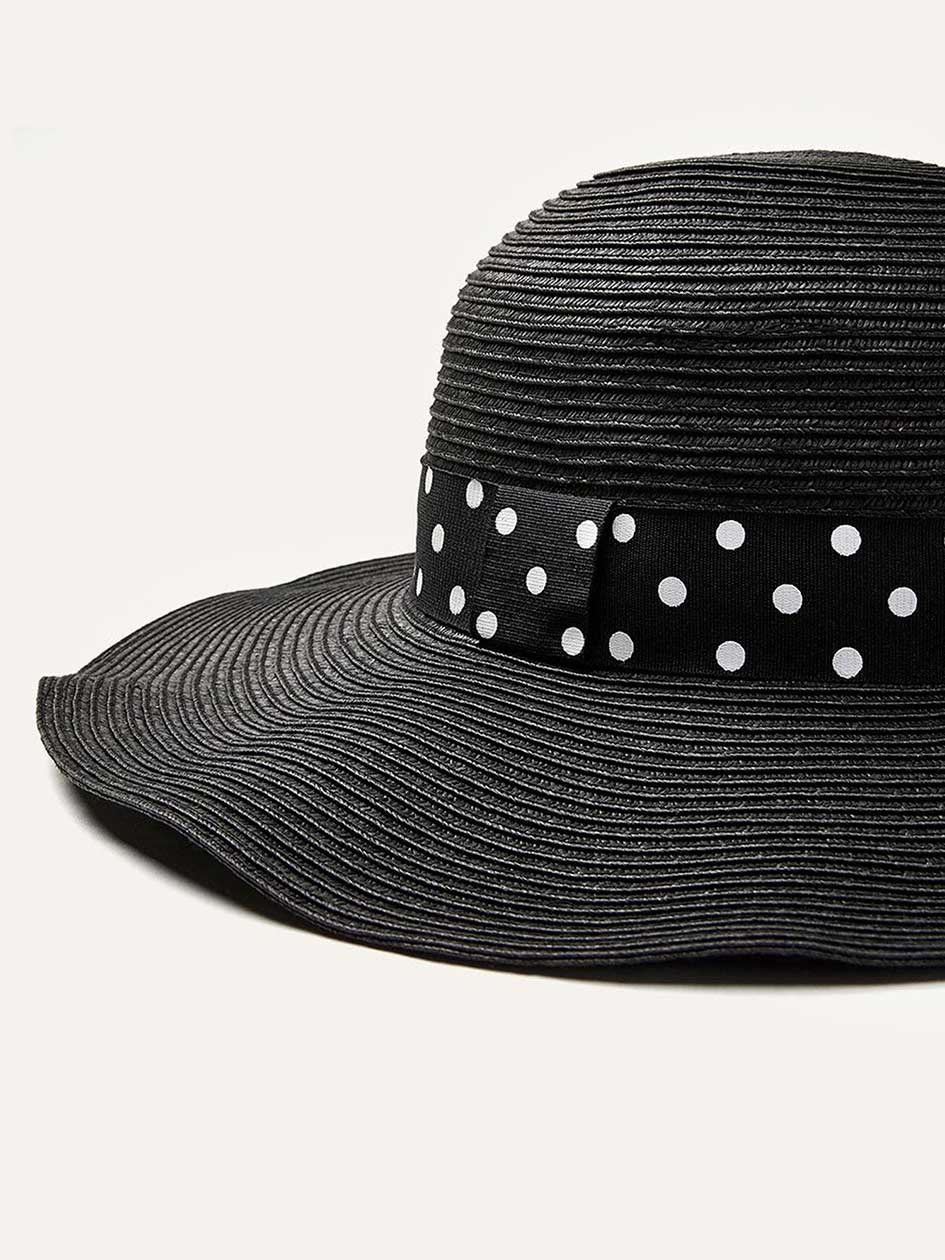 Packable Straw Hat with Ribbon
