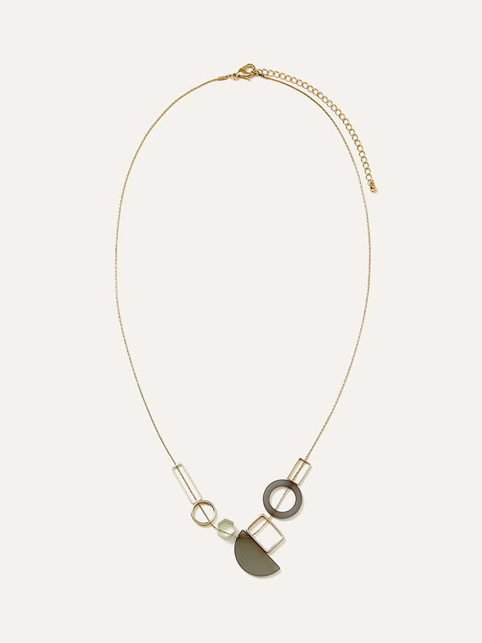 Short Necklace with Geometric Pendants