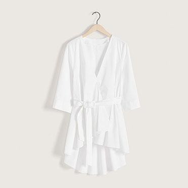 Kimono en coton broderie anglaise