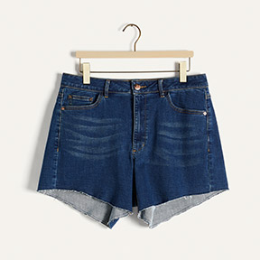 Asymmetric denim shorts