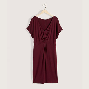 Dolman-sleeve front knot midi dress