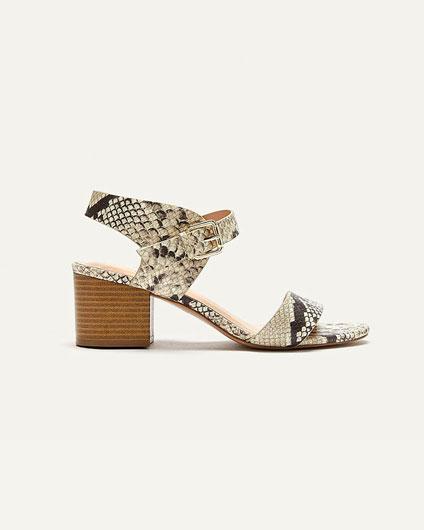 Python heeled sandal