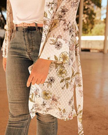 Belted kimono blouse